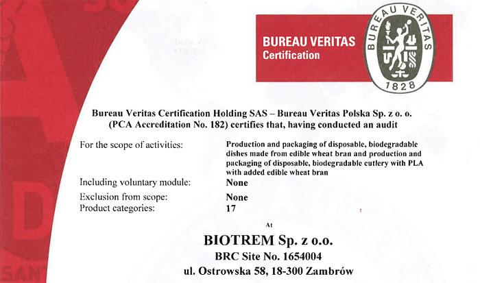 Bureau Veritas tanúsítvány, ehető búzakorpa tányérra